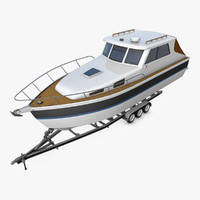 motor boat trailer motorboat 3d model