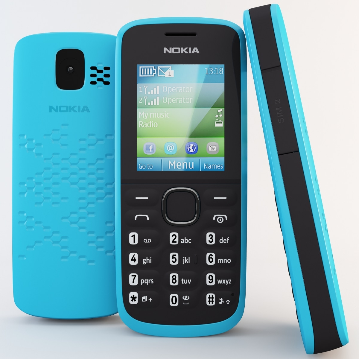 3d model blue nokia 110 cellphone