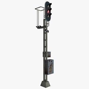 railway traffic light 3d 3ds