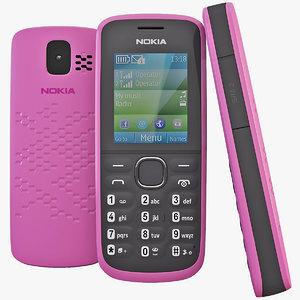 pink nokia 110 cellphone 3d obj