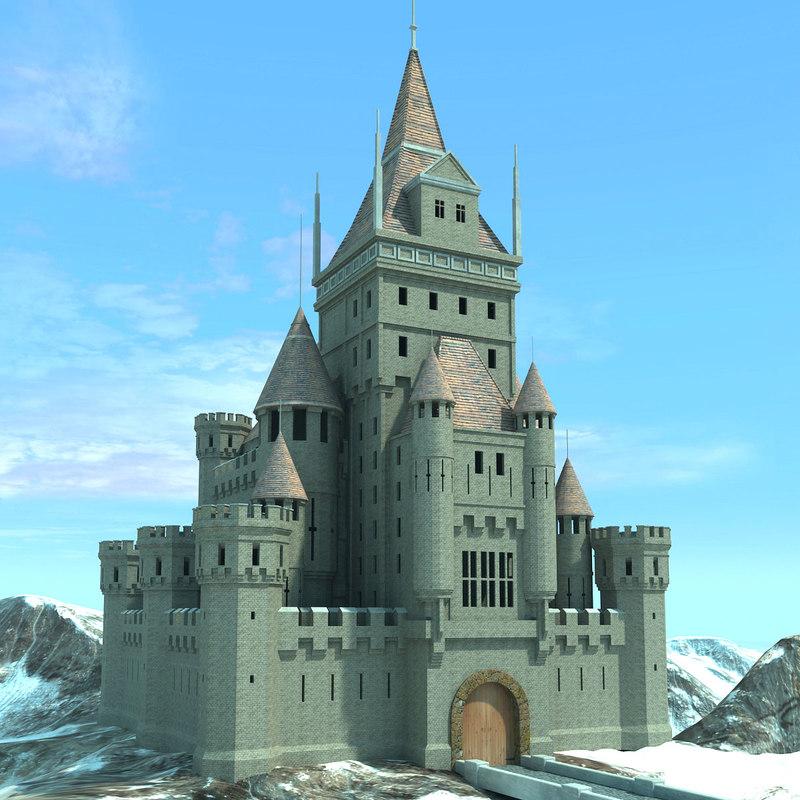 castle landscape scene 3d model
