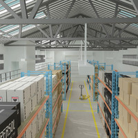 large architectural warehouse 3d max