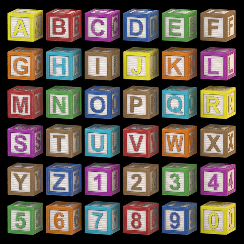 alphabet - wood color 3d model