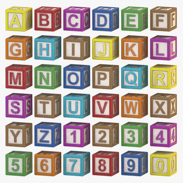 alphabet - wood color 3d model