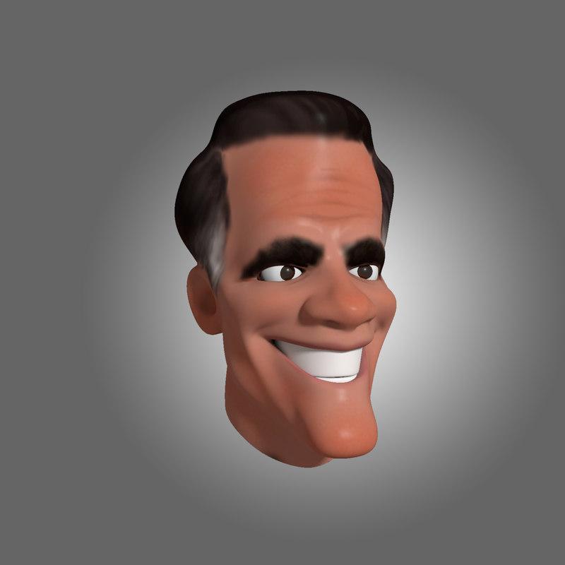 3d caricature mitt romney