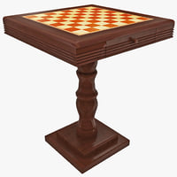 cherry chess table 3d
