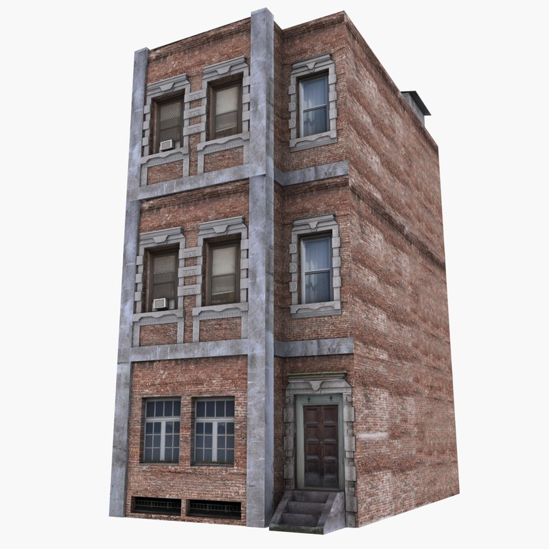 3d 3 story apartment building