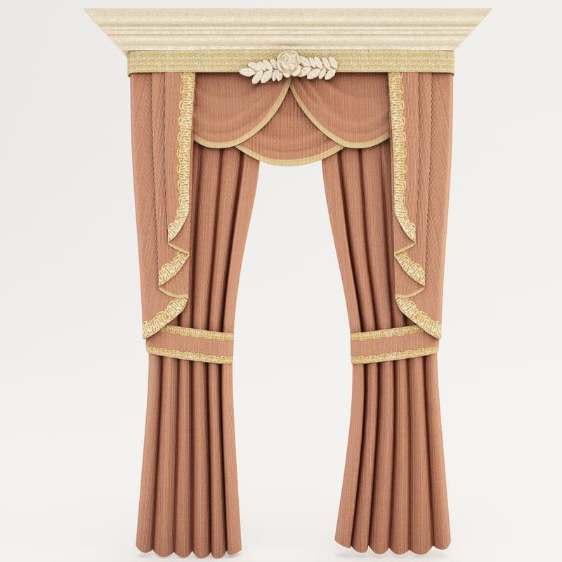 3d Classic Curtains Interior 2
