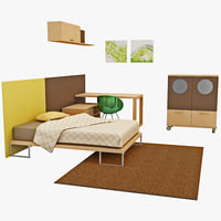 kids bedroom furniture 3d model