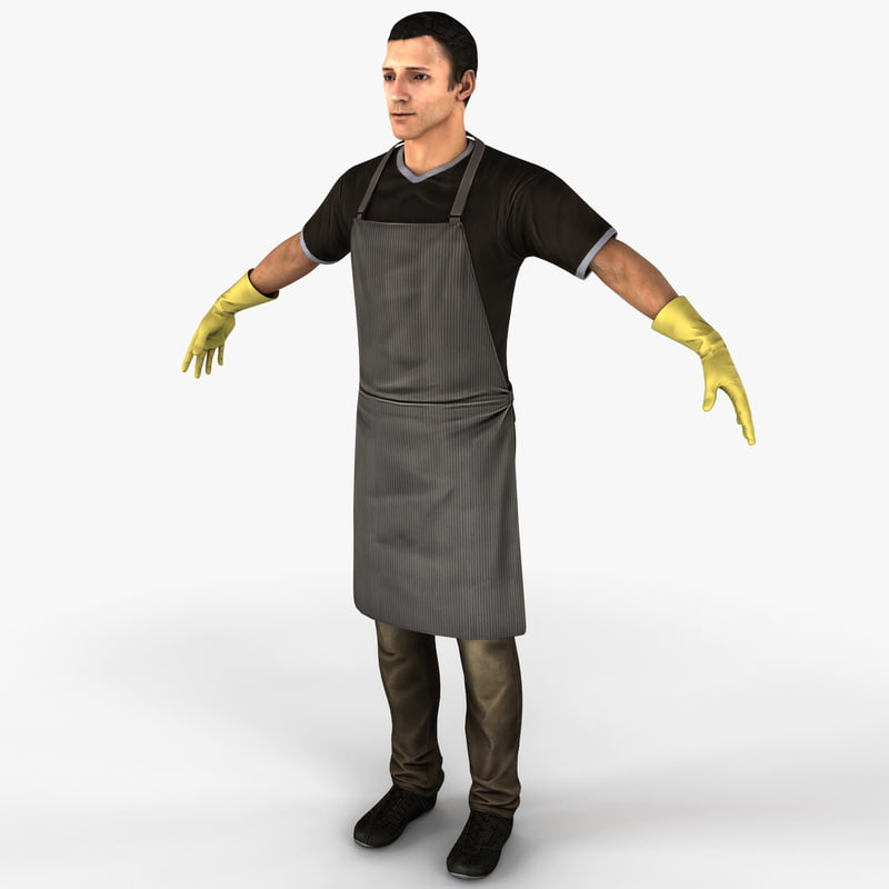 cleaner man 3d model