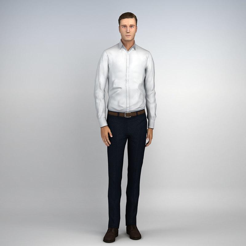 3d human casual man character model
