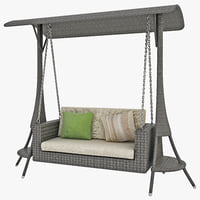swing seat gazebo 3 3d model