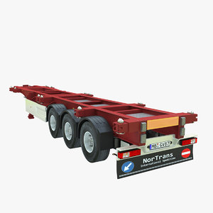 3d model of shipping container trailer