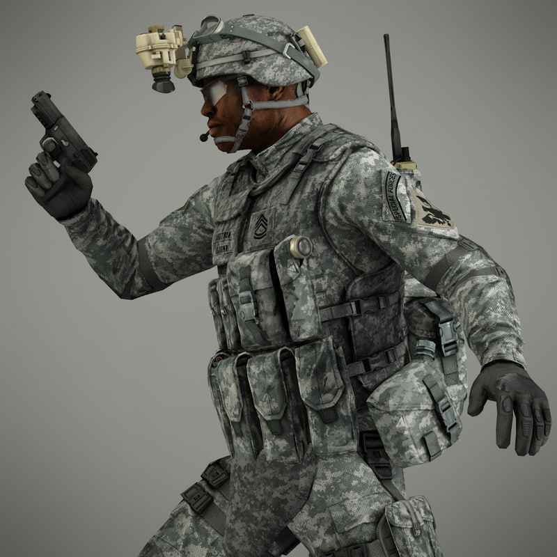 military male soldier 3d model