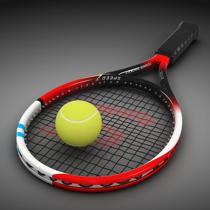 3d model tennis racket ball