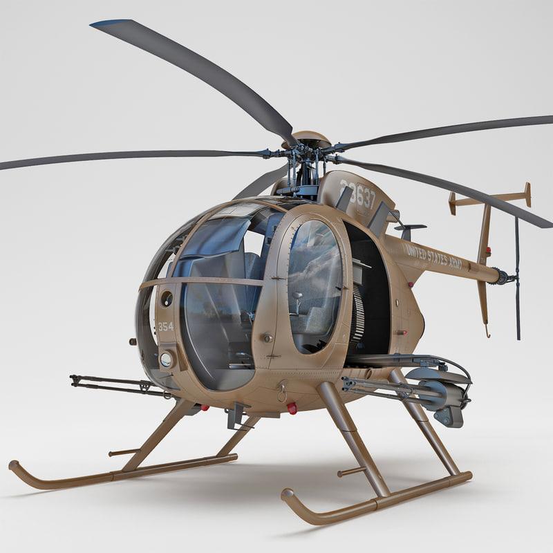 ah-6 little bird helicopter 3d model