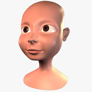 cartoon boy head 3d obj
