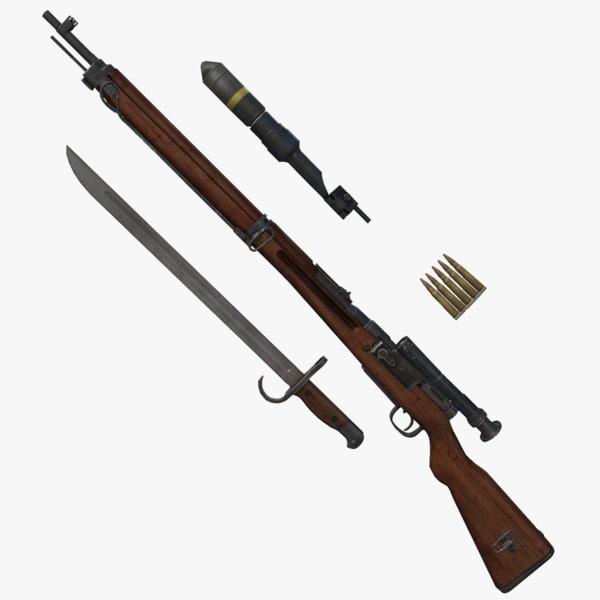 arisaka type 99 rifle 3d x