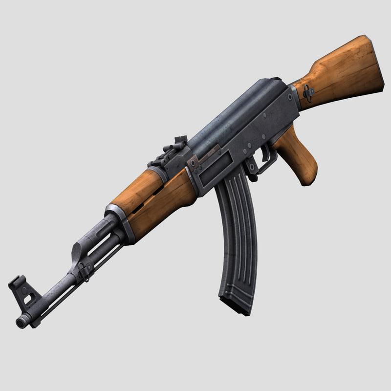 3d model ak47 kalashnikov rifle games
