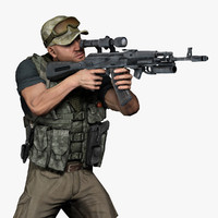 3d model soldier mercenary settings