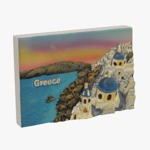 3d greece magnet souvenir model