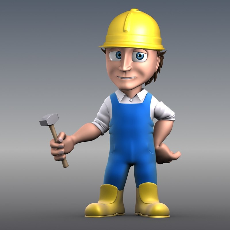 cartoon carpenter rigged 3d max