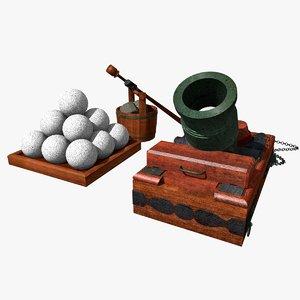 3d model mortar gun artillery