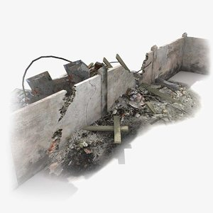 3d model rubble wall ruined