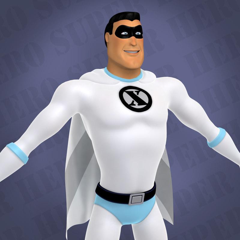 3d model of cartoon classic superhero man