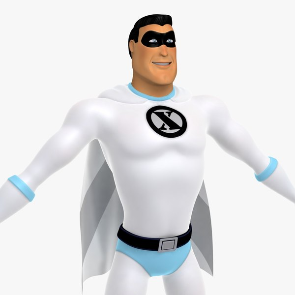 3d model of cartoon classic superhero man