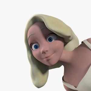 3d ma bride cartoon rigged character