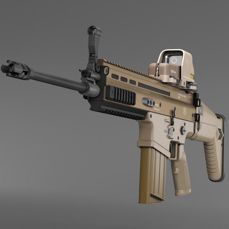 3d assault rifle fn scar-h model