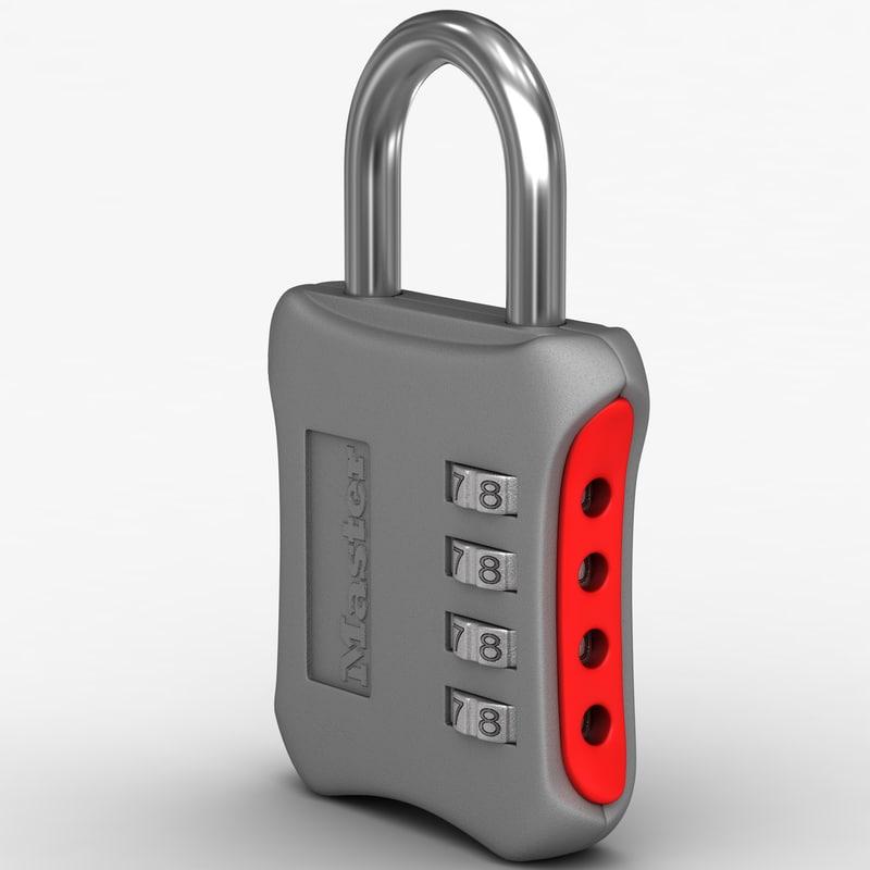 combination padlock master lock 3d model