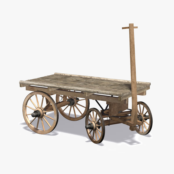 3d wooden carriage cart model