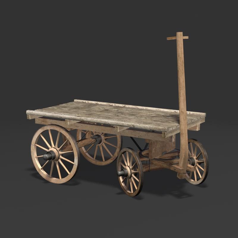 3d wooden carriage cart model