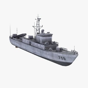 chinese navy houxin boat 3d model