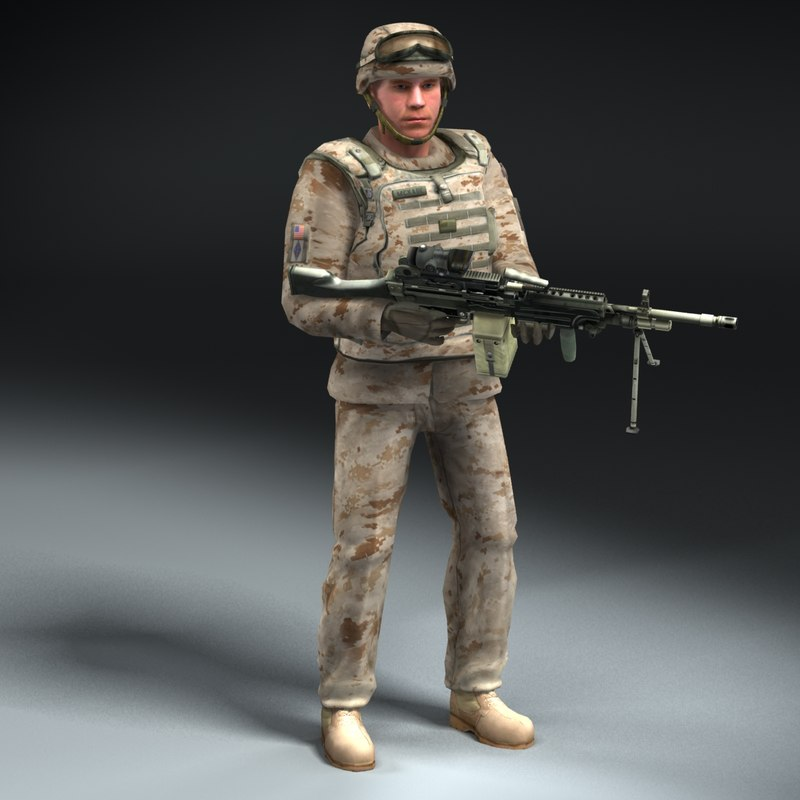 3d model marine corps rigged d