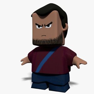 3d squared character