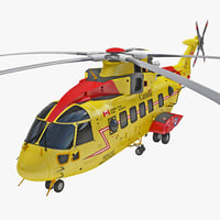 Rescue Helicopter CH-149 Cormorant 2 Rigged