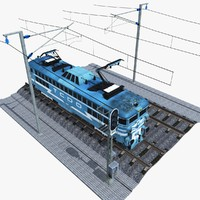 TCDD E 40015 Electric Train with Railroad Tracks and Traffic Light