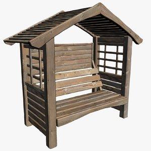 3d model of wooden garden seat