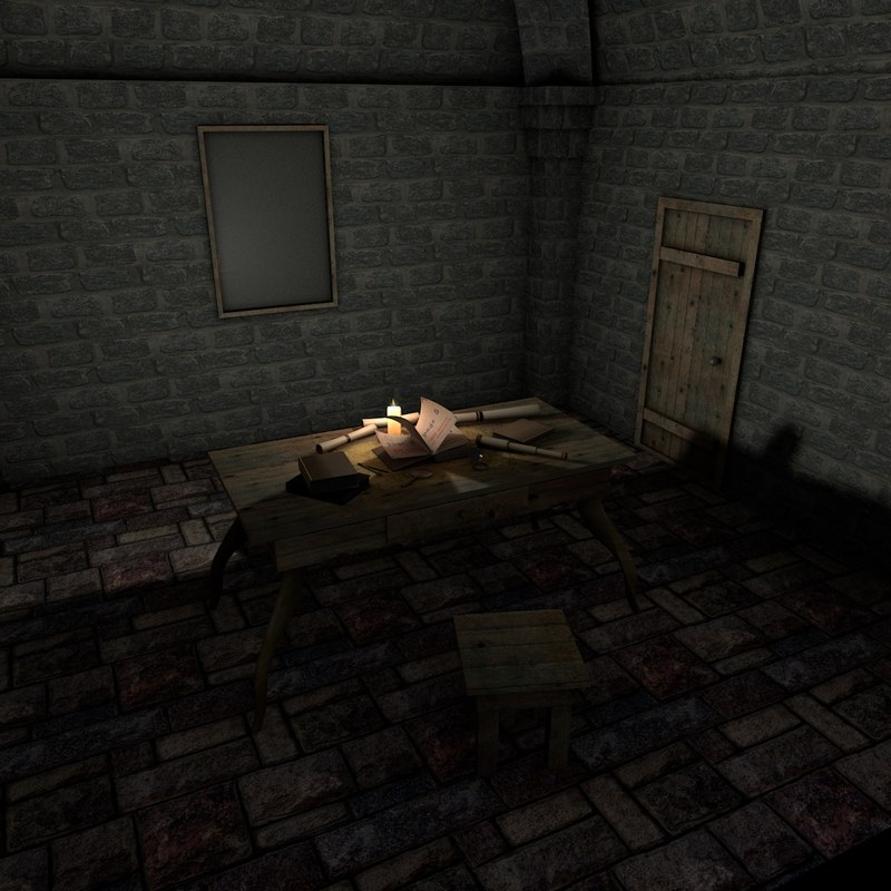 medieval interior scene 3d 3ds