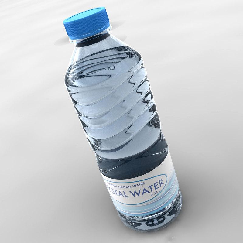 3d model realistic water bottle
