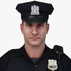 police officer character rigging 3d model
