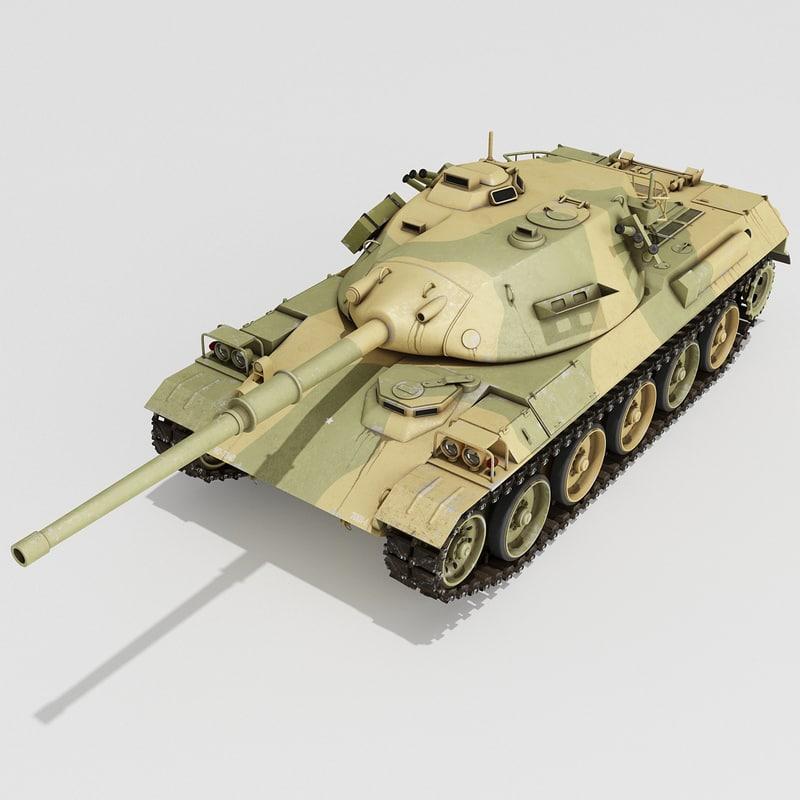 3d model japanese type 74 battle tank