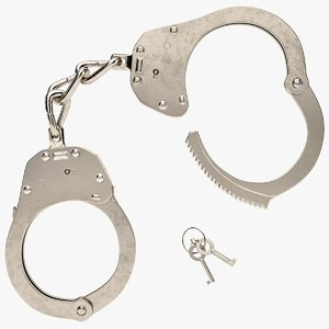 3d model realistic nickel steel handcuffs