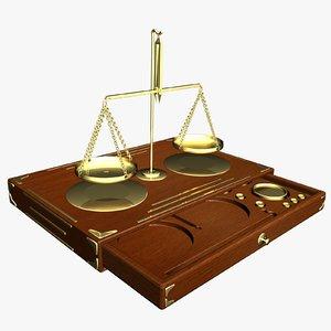 antique scales box 3d model