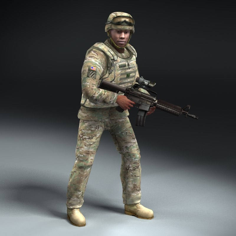 3d army soldier multicam rigged