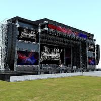 3d model mega live stage set