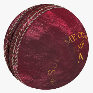 used red leather cricket ball 3d max